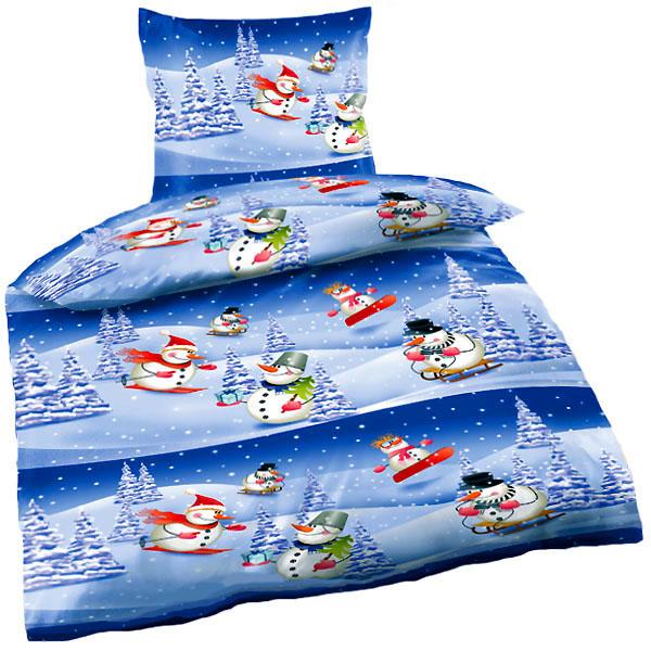 bettw sche weihnachten biber schneemann in winterlandschaft 135 x 200 ebay. Black Bedroom Furniture Sets. Home Design Ideas