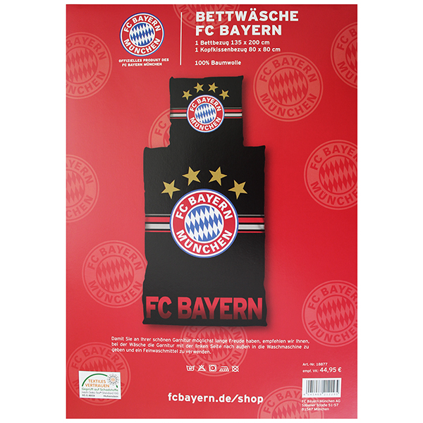 fc bayern m nchen bettw sche fc bayern logo 135 x 200 neu. Black Bedroom Furniture Sets. Home Design Ideas