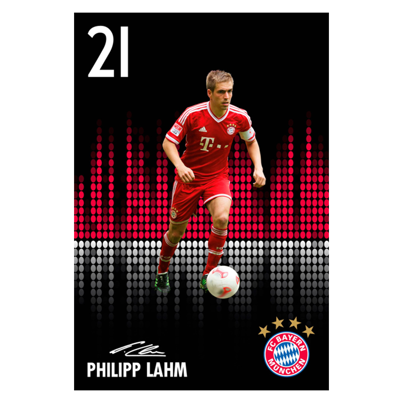 fc bayern m nchen poster philipp lahm 21. Black Bedroom Furniture Sets. Home Design Ideas