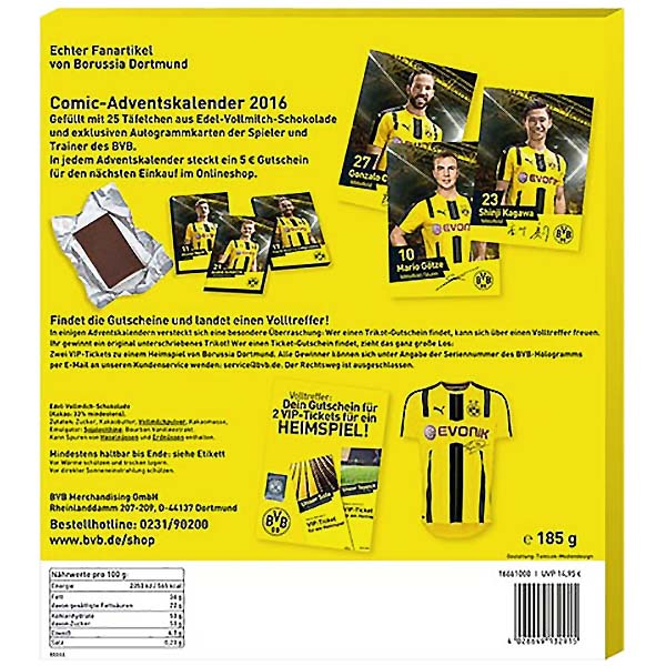 bvb borussia dortmund adventskalender 2016 comic 100g 8. Black Bedroom Furniture Sets. Home Design Ideas