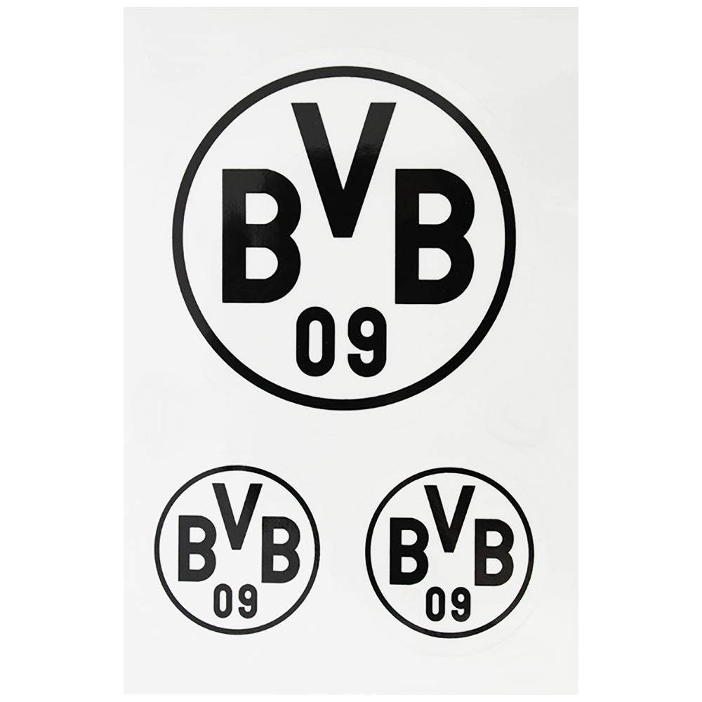 BVB Aufkleber BVB Logo 3er-Set transparent schwarz