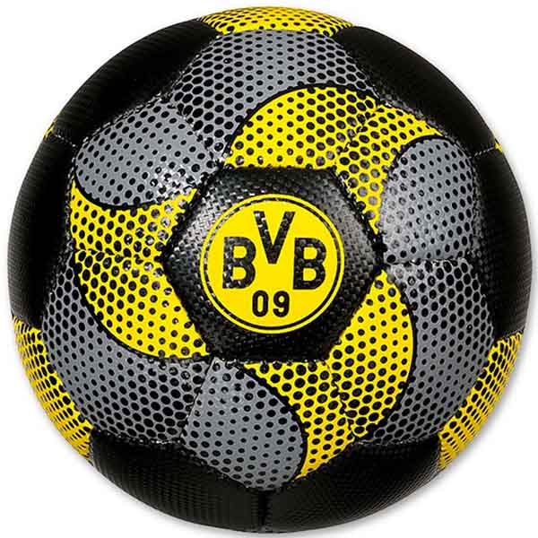 bvb borussia dortmund ball fussball spielball carbonmuster bvb logo gr e 5 ebay. Black Bedroom Furniture Sets. Home Design Ideas