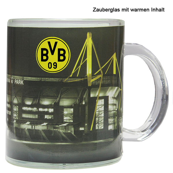bvb borussia dortmund zauberglas becher tasse signal iduna park ebay. Black Bedroom Furniture Sets. Home Design Ideas