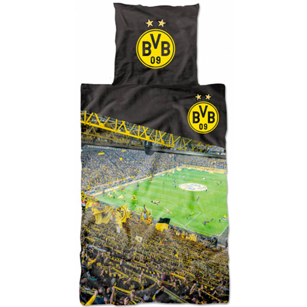 bvb borussia dortmund bettw sche stadion s dtrib ne bvb logo 135 x 200 neu ebay. Black Bedroom Furniture Sets. Home Design Ideas