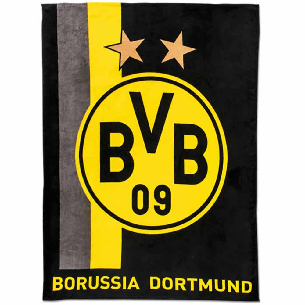bvb decke bvb logo streifen borussia dortmund fleecedecke 150 x 200 ebay. Black Bedroom Furniture Sets. Home Design Ideas