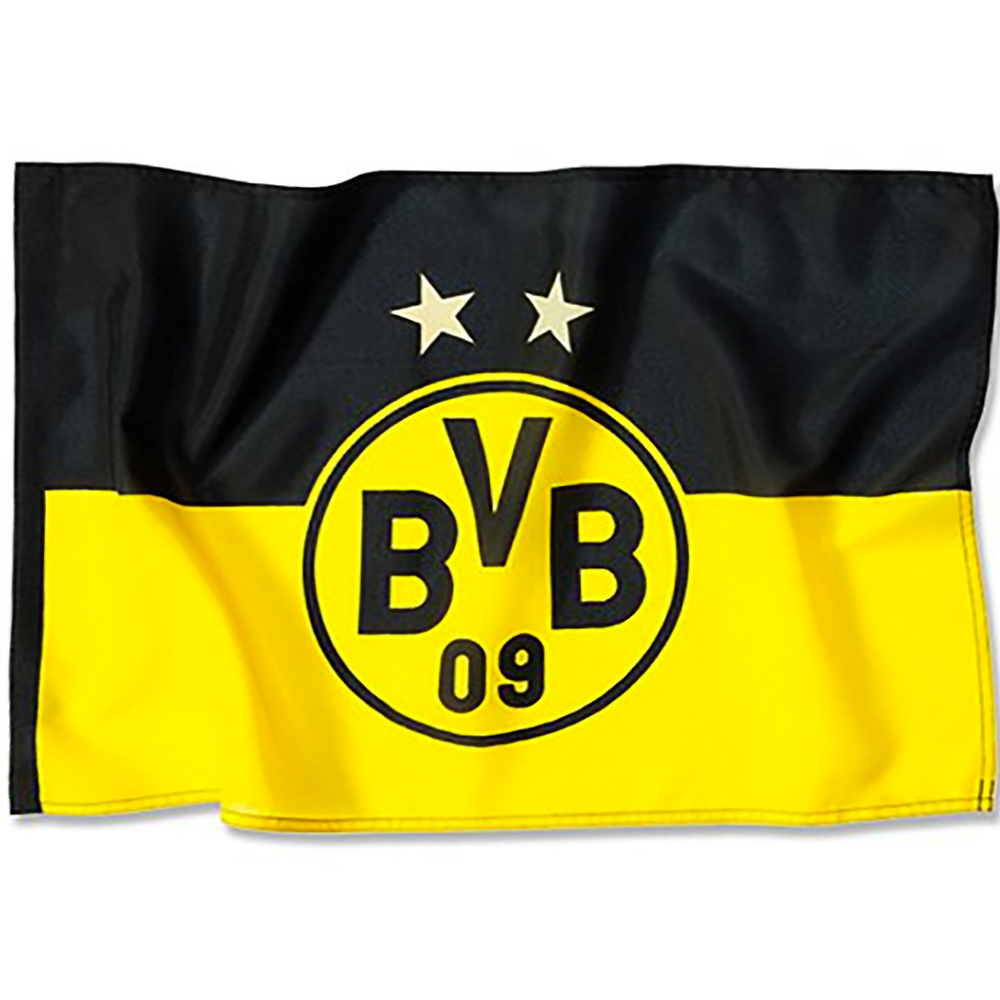 bvb borussia dortmund stockfahne bvb logo fahne 90 x 60 ebay. Black Bedroom Furniture Sets. Home Design Ideas