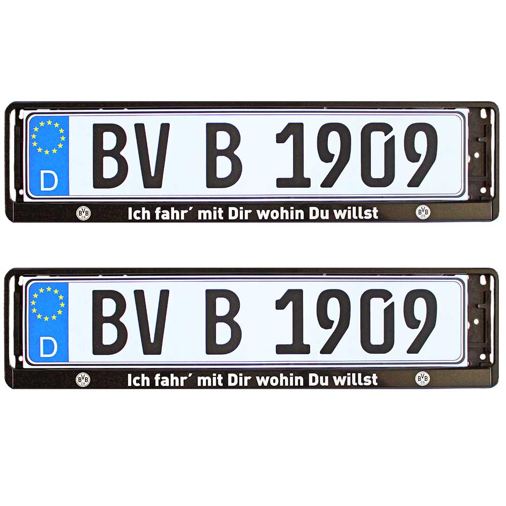 BVB Kennzeichenverstärker Ich fahr mit Dir wohin Du willst 2er-Set