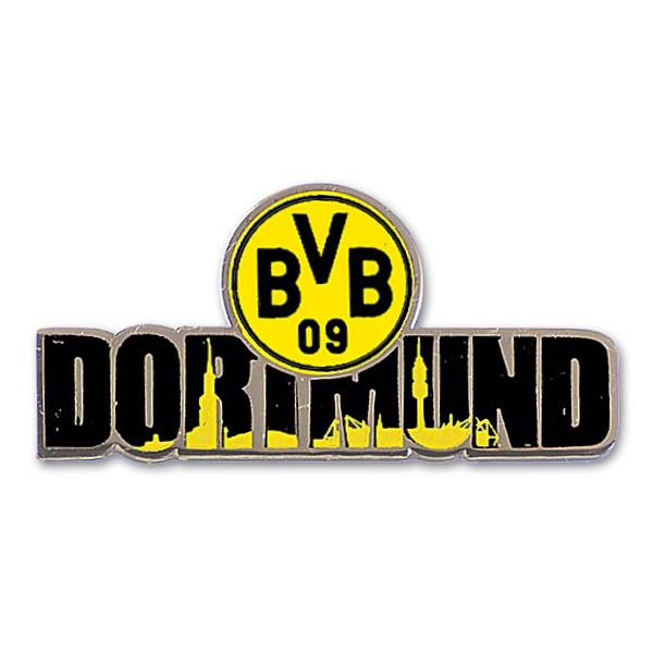 bvb borussia dortmund pin anstecker dortmund skyline bvb logo ebay. Black Bedroom Furniture Sets. Home Design Ideas