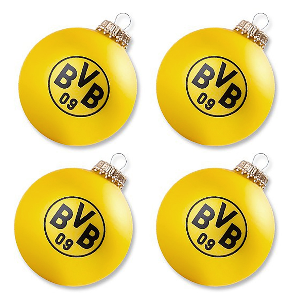 bvb borussia dortmund weihnachtsbaumkugeln christbaumkugeln kugeln 4er set ebay. Black Bedroom Furniture Sets. Home Design Ideas