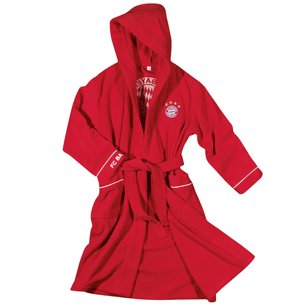 FC Bayern München Kinder Bademantel mit Kapuze rot