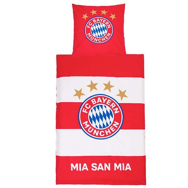 FC Bayern München Bettwäsche Biber Mia san mia Streifen