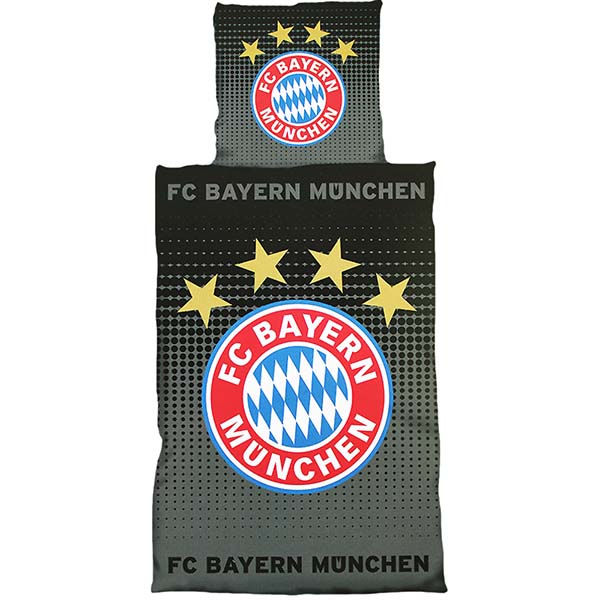 fc bayern m nchen bettw sche logo schwarz grau. Black Bedroom Furniture Sets. Home Design Ideas