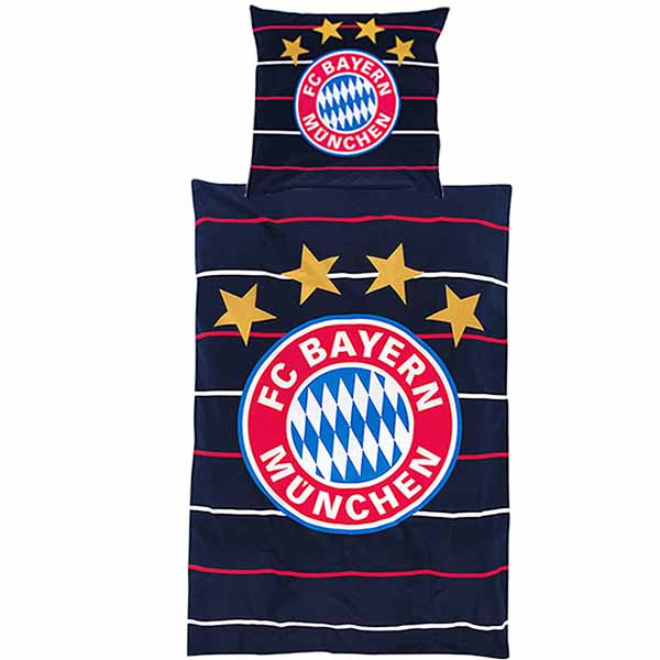 fc bayern m nchen bettw sche stripes fc bayern logo navy. Black Bedroom Furniture Sets. Home Design Ideas