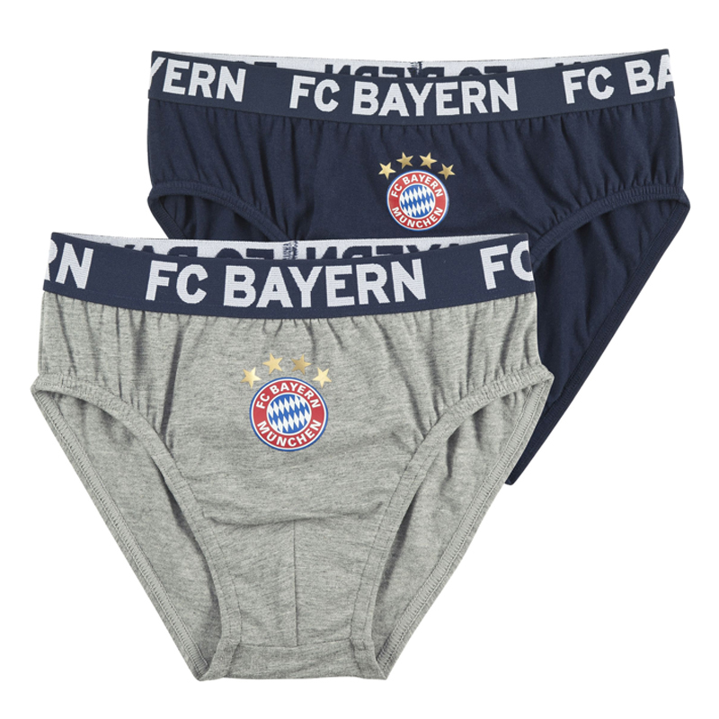 fc bayern m nchen unterhose slip kinder 2er set navy grau. Black Bedroom Furniture Sets. Home Design Ideas
