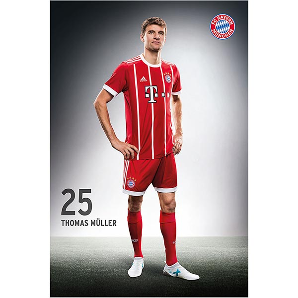 fc bayern m nchen poster fussballspieler thomas m ller 61. Black Bedroom Furniture Sets. Home Design Ideas