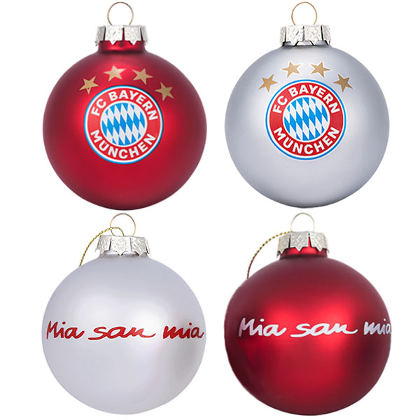 FC Bayern München Christbaumkugeln Mia san mia 4er-Set