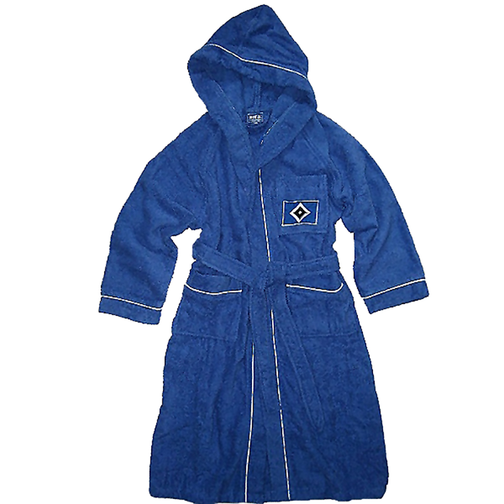 HSV Kinder Bademantel mit Kapuze blau