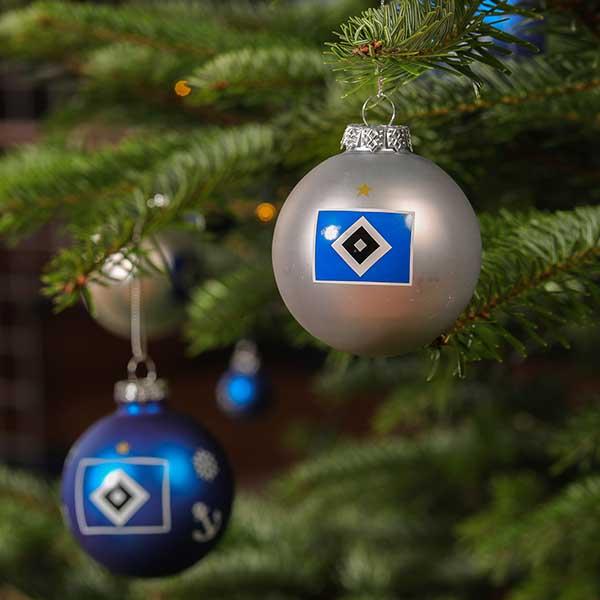 Hsv Weihnachtskugeln.Hsv Christbaumkugeln Raute 4er Set