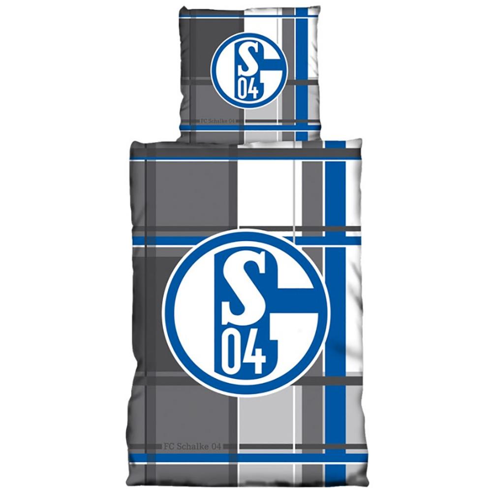 FC Schalke 04 Bettwäsche Karo grau Übergröße