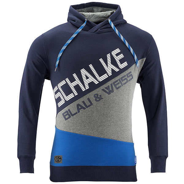 FC Schalke 04 Sweatshirt Kapuze Kontrast blau
