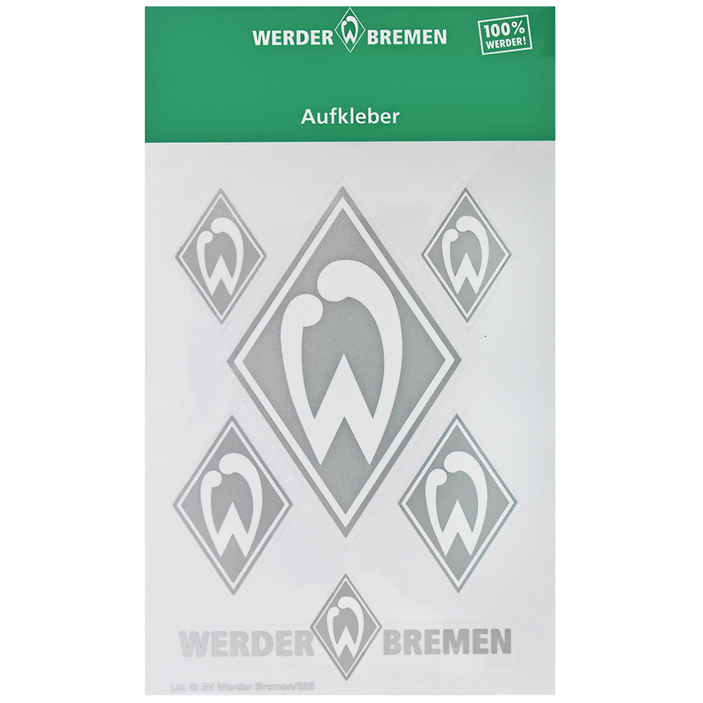 SV Werder Bremen Aufkleber Werder Raute 6er Set silber